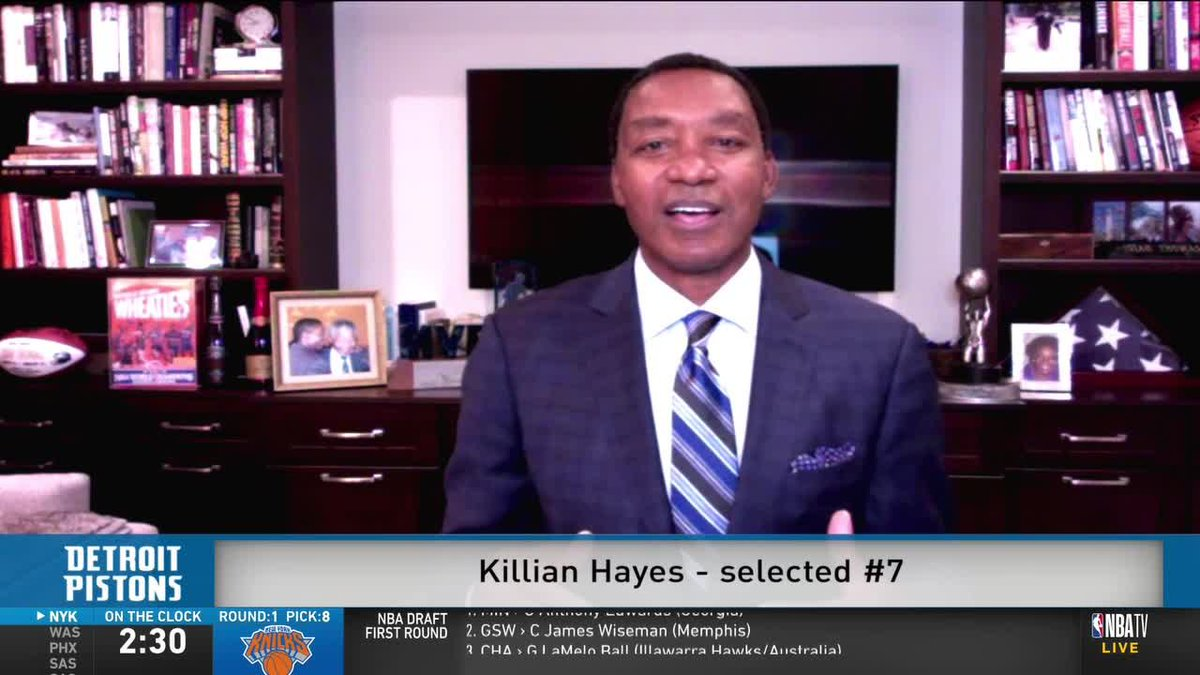 """""""I think he's in the perfect situation because he'd be under the tutelage of Derrick Rose.""""   @IsiahThomas reacts to his Pistons selecting Killian Hayes with the 7th pick in the #NBADraft"""