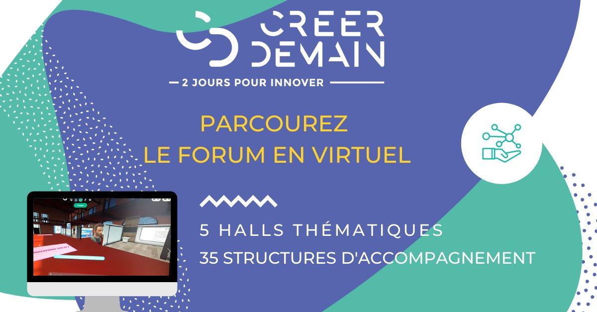 #CreerDemain : créez votre avatar et venez rencontrer les 35 #acteurs de l'#innovation en #BourgogneFrancheComté, répartis dans 5 halls thématiques virtuels. Ou prenez rendez-vous avec eux en #RDVB2B. Inscrivez-vous!! Infos: https://t.co/i9Z1pELQzX  #forum #salonvirtuel https://t.co/Bcdzs8mjFa