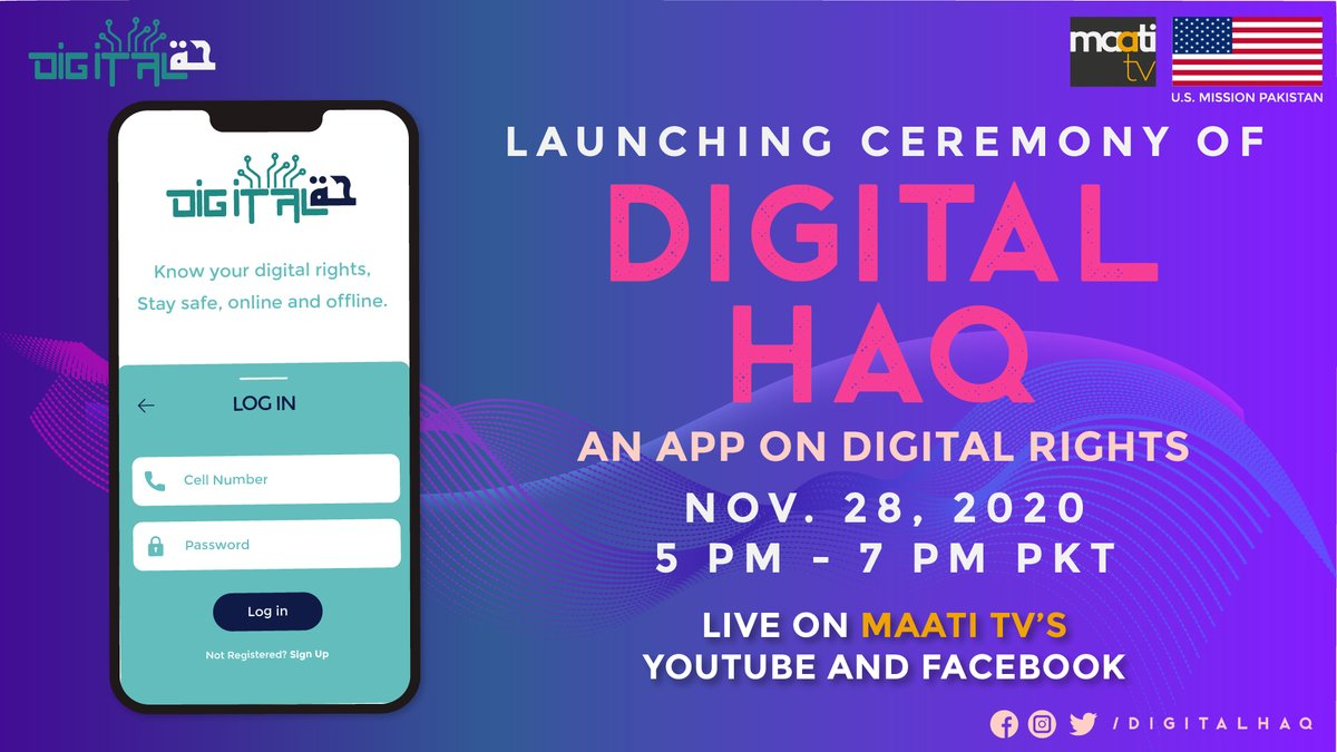Join @maatitv for an interactive session where the @DigitalHaq team will present their app on #digitalrights & answer your questions! Don't miss this exciting opportunity November 28! https://t.co/ZFNAO64FFr   Webinar ID: 823 1222 4450 Passcode: 982901