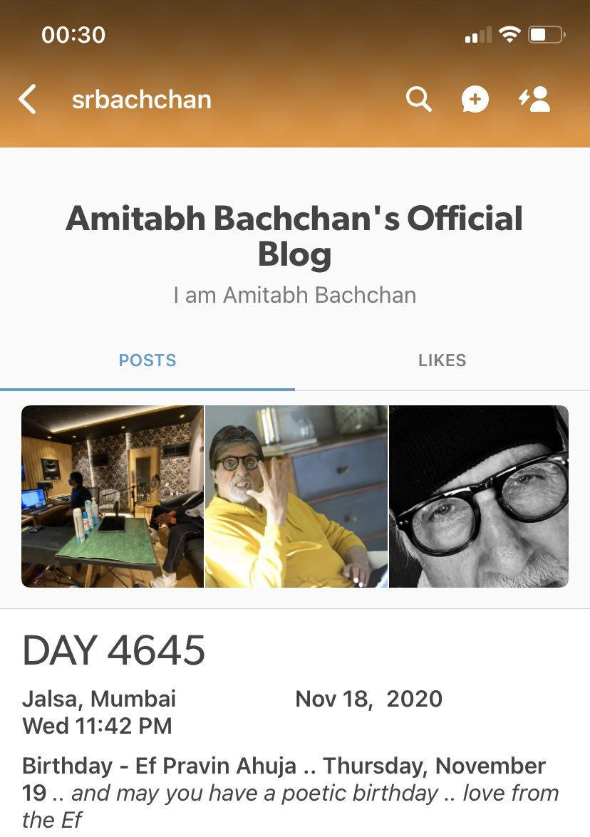Birthday Wishes from you @SrBachchan Boss make my birthday truly special 💕💕🙏🙏 Thank you very much. Always indebted