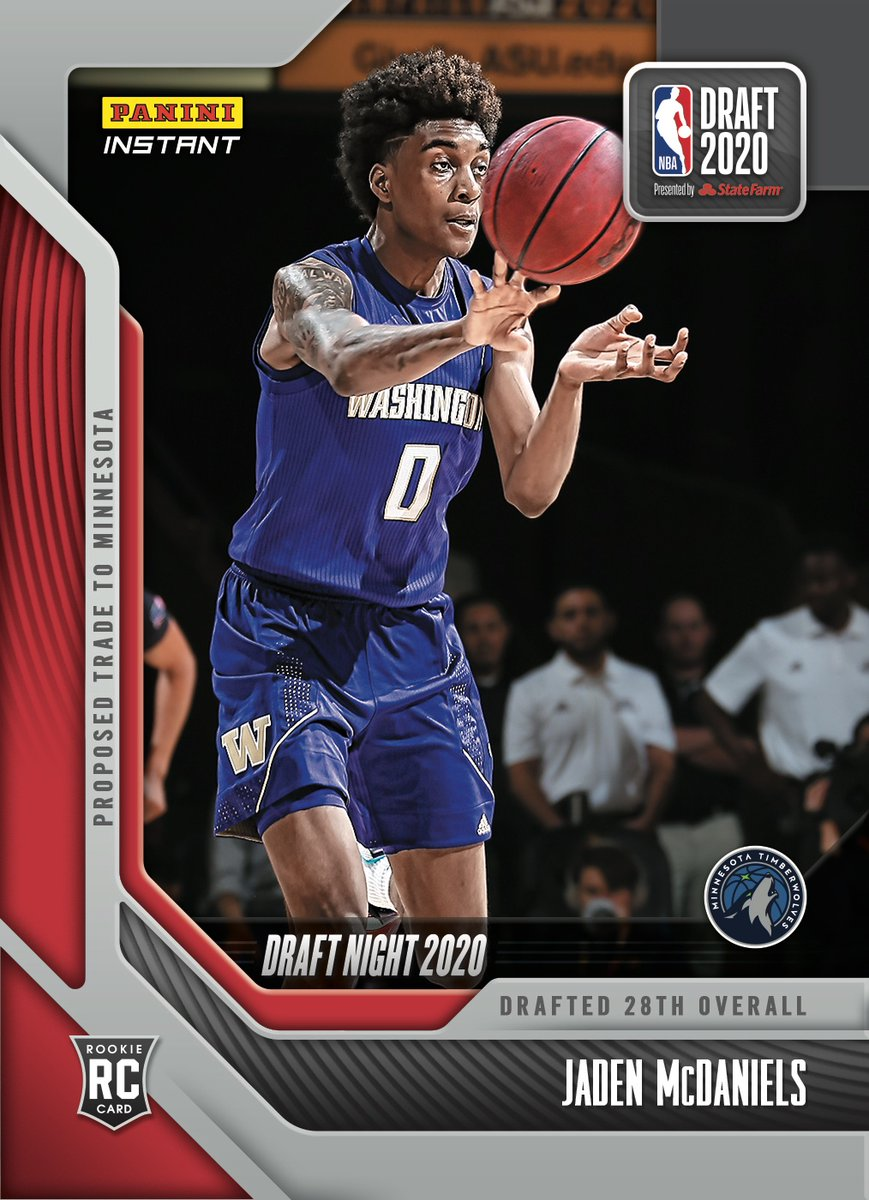 The @Timberwolves add another stud, @Jmcdaniels7. Check out the rooks #NBADraft Night Rookie Card available now from #PaniniInstant.   #RatedRookie | #NBADraft   https://t.co/hql1ZxcJEn https://t.co/u0R2j6AcEq