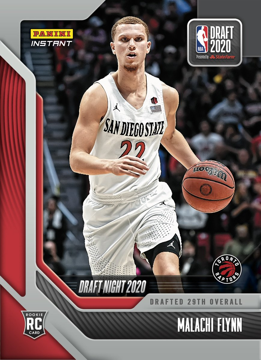 The League is ready for you, @malachi_flynn3! Welcome to the @Raptors. Check out his #NBADraft Night Rookie Card available now from #PaniniInstant.   #RatedRookie | #NBA   https://t.co/goP33GrGDq https://t.co/2OKln09SGA