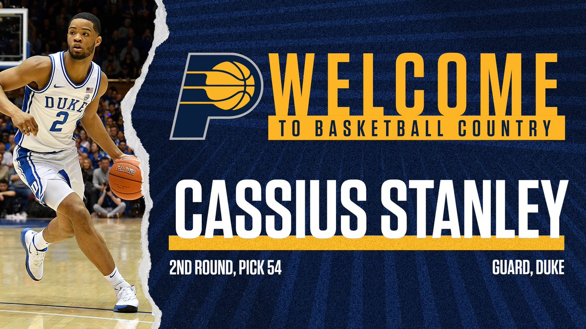 Welcome to the team, @cassius_stanley!   Let's get to work 🙌  #PacersDraft2020 https://t.co/LRoCdD1ku5