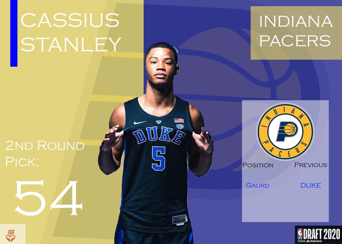 Welcome to Indiana Cassius Stanley! #NBA #NBADraft #PacersDraft2020 #Pacers #CSA