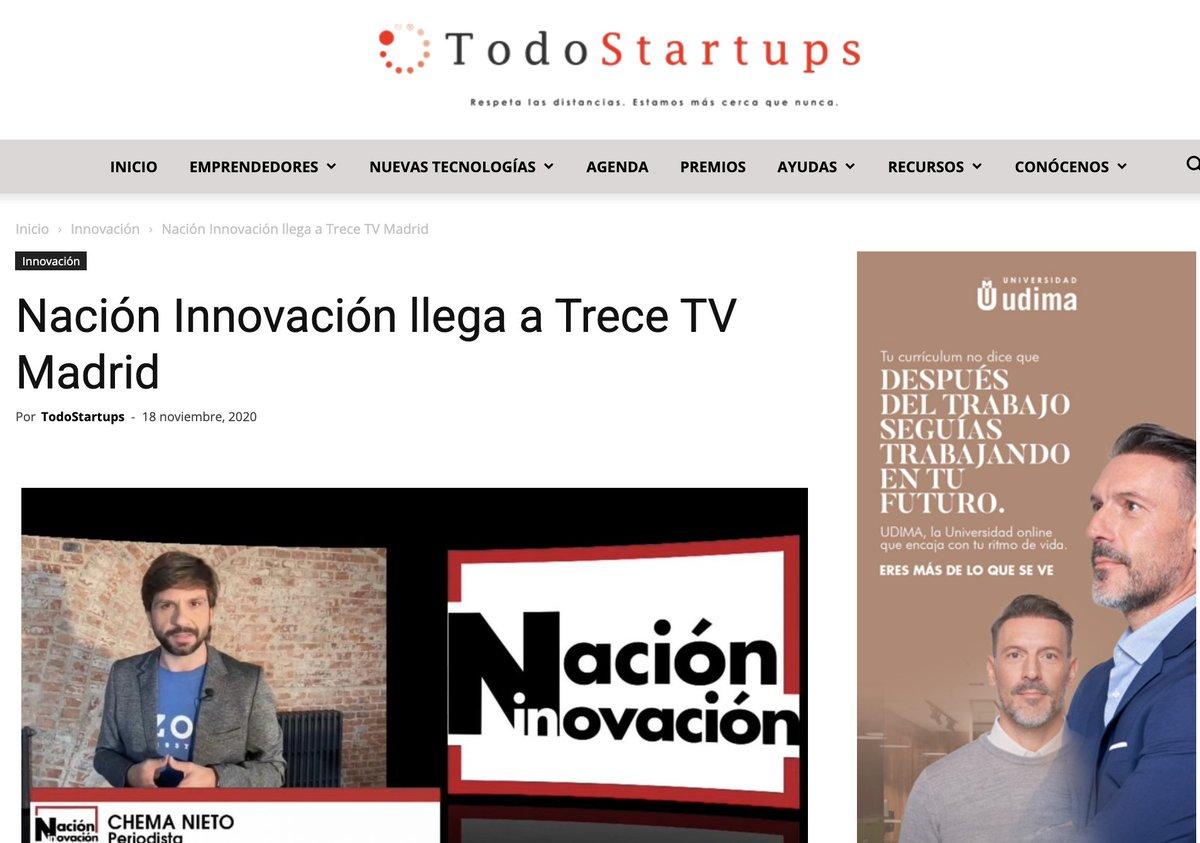 Nuestro @NacionInnovatv  llega a Trece TV Madrid. Lo puedes leer en @Todostartups https://t.co/5sKMJL46zI https://t.co/6pcOPN0o8E