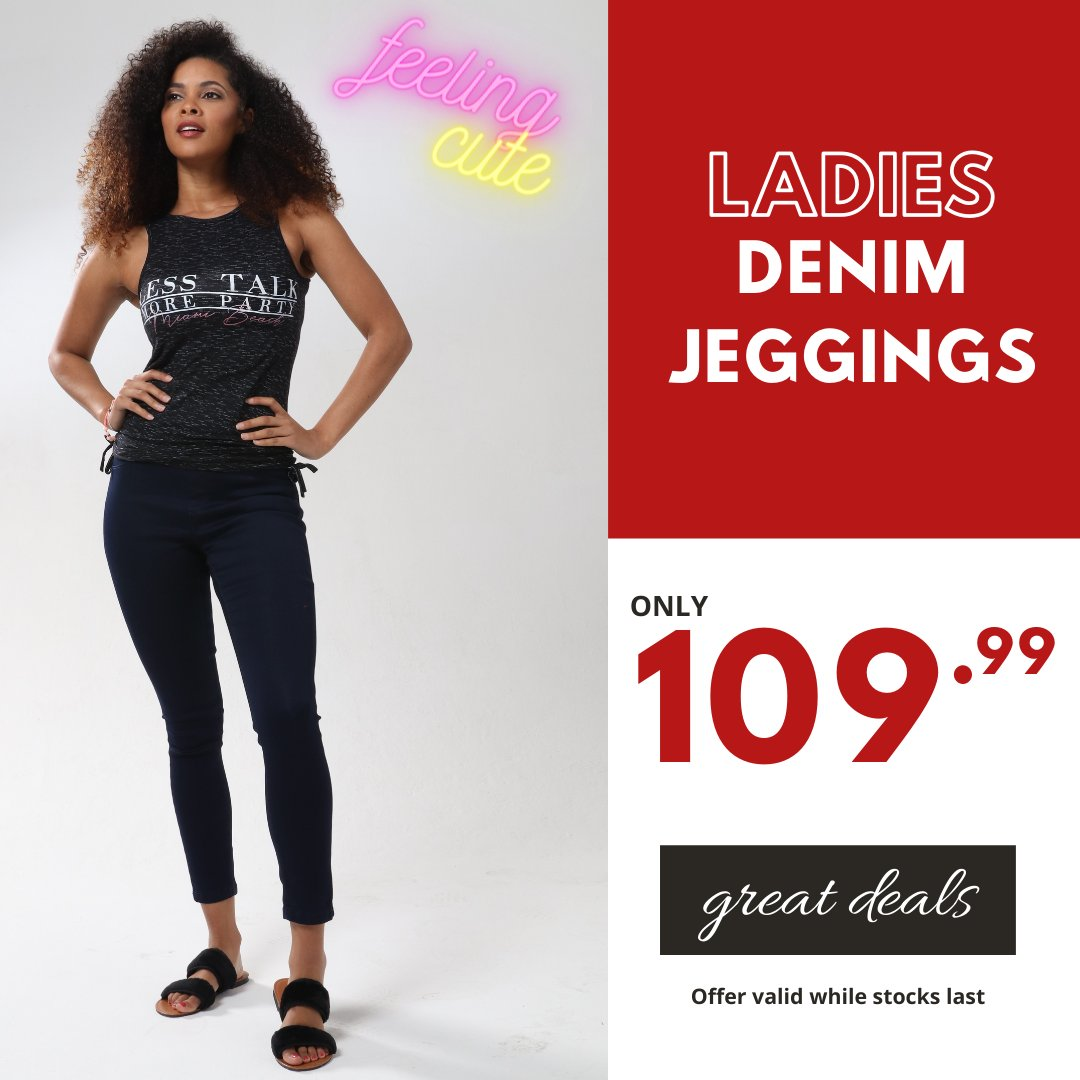 Feeling cute  😍 in our denim jeggings for only 109.99 available in stores now. #choiceclothing #wearchoice #ladiesdenim #jeggings
