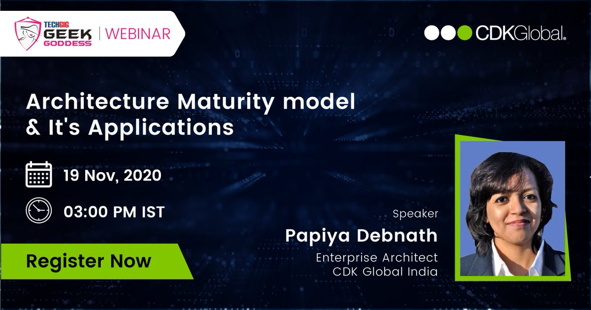 Join in for a #webinar session and learn about Architecture Maturity Model and its applications from our speaker Papiya Debnath, Enterprise Architect, @CDKGlobal India today at 3 PM IST.  Register @ https://t.co/VRUYCMk1jL  #TechGig #GeekGoddess #GirlsLetsCode #IndiaCodeKarona https://t.co/IxhYRKQdjy