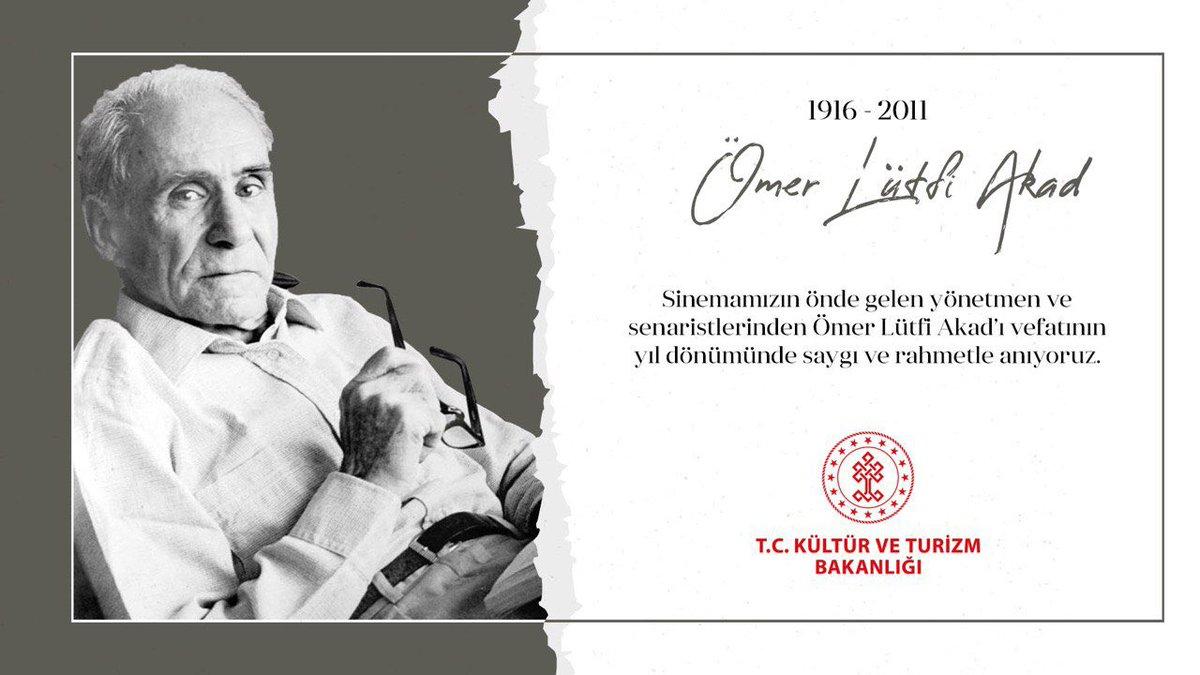 Sinemamızın önde gelen yönetmen ve senaristlerinden #ÖmerLütfiAkad'ı vefatının yıl dönümünde saygı ve rahmetle anıyoruz.