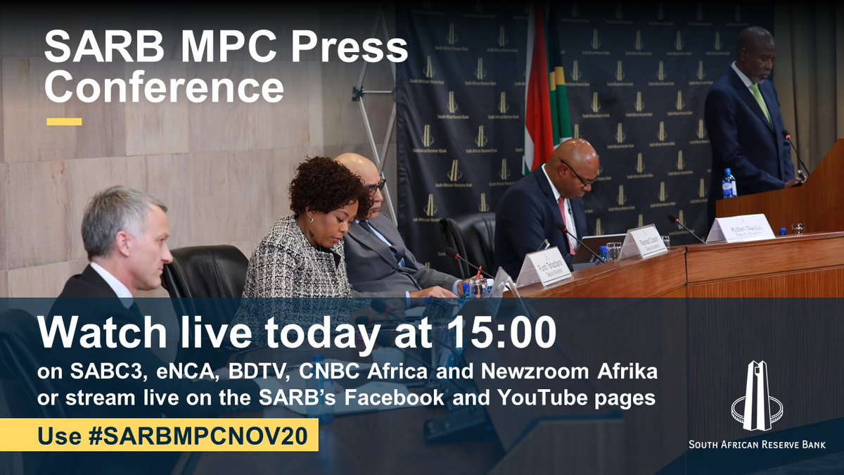 WATCH LIVE TODAY: Governor @KganyagoLesetja will deliver the MPC decision on interest rates live at 15:00 on SABC3, eNCA, BDTV, Newzroom Afrika and CNBC Africa. The SARB will also live stream on Facebook https://t.co/VoFN4UtREc & YouTube https://t.co/0ODh8D80y1. Use #SARBMPCNOV20 https://t.co/oiZfotSgmz