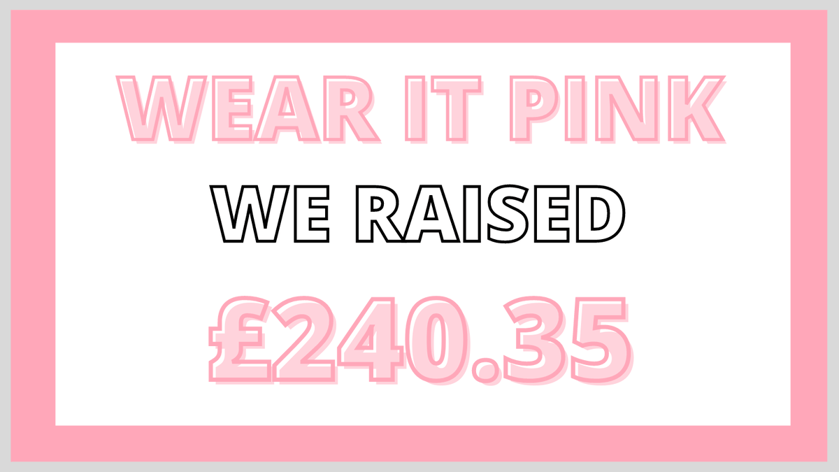 We are pleased to announce that the Bradfields community raised a massive £240.35 for Wear It Pink Day, raising money for @BreastCancerNow@Breast Cancer Now.  #Charity #WearItPink #BreastCancerNow