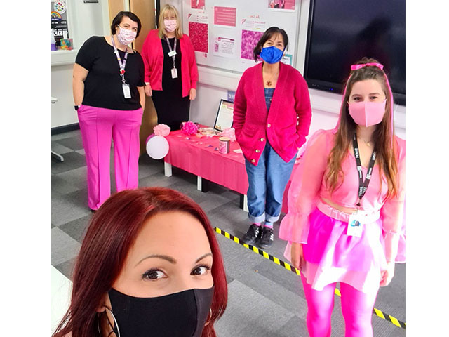 Just before October half term, students and staff across all three campuses were asked to wear or carry something pink to take part in a 'COVID-compliant' Breast Cancer #WearItPink Day and donate to the cause.