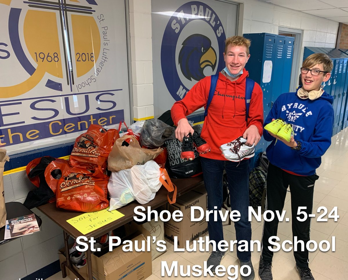 Check out these awesome students and shoes they're collecting so far at St. Paul's Lutheran Church - Muskego, Wisconsin! Way to go guys, these shoes will touch many lives. Thank you for thinking of others this season! #GlobalMission