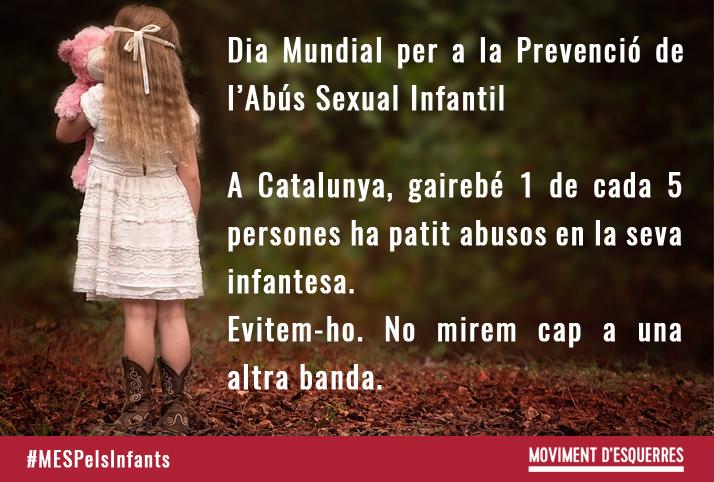 A Catalunya, gairebé 1 de cada 5 persones ha patit abusos en la seva infantesa.  Evitem-ho. No mirem cap a una altra banda. La prevenció i detecció són cabdals. Avui és el Dia Mundial per la Prevenció Contra l'Abús Sexual Infantil.  #EndChildSexAbuseDay
