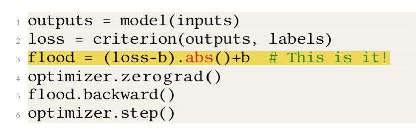 過学習対策にJ*(θ) = |J(θ) − b| + bこれを評価関数にするといいぞ!という論文。勾配降下法で損失関数が閾値bを下回った時には、これを勾配上昇法に切り替えることで損失関数が期待以上に小さくなりすぎないようにすることができる。シンプルかつ強力!!
