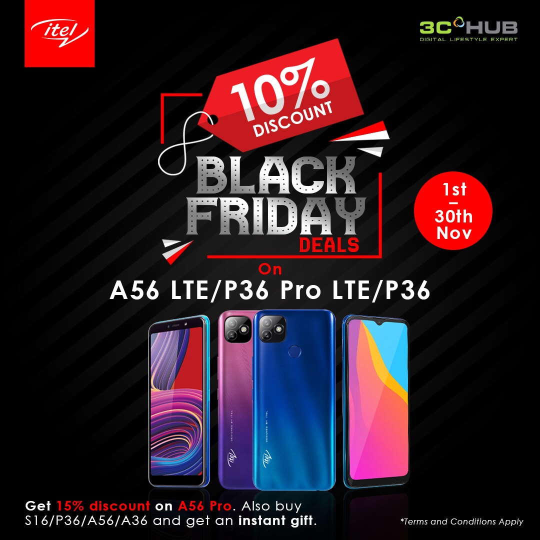 Mazi Olisaemeka C On Twitter The Itel Black Friday Deals Are So Juicy Mouthwatering Walk Into Any 3c Hub Outlet And Get 10 Discount On A56 Lte P36 Pro Lte