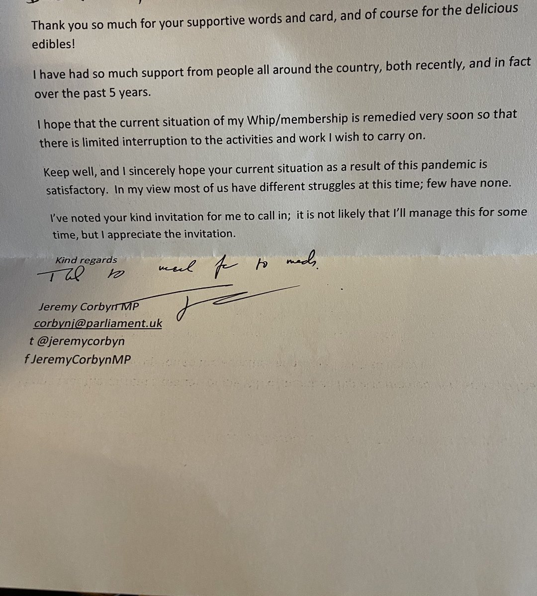So I sent @jeremycorbyn a card of support and a box of fudge. He replied today and made my day!   Jeremy will always be the most principled and honest man in parliament, and I will always thank him for addressing racism and discrimination in all forms and his tireless work!