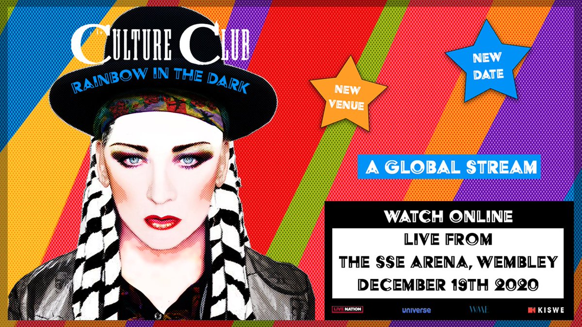 New // @RealCultureClub have announced that a limited amount of socially distanced audience tickets will be available for their 'Rainbow in the Dark: A Global Stream' show. Tickets on sale 10am Friday: https://t.co/65N64X4wO2 https://t.co/v0koELkysD
