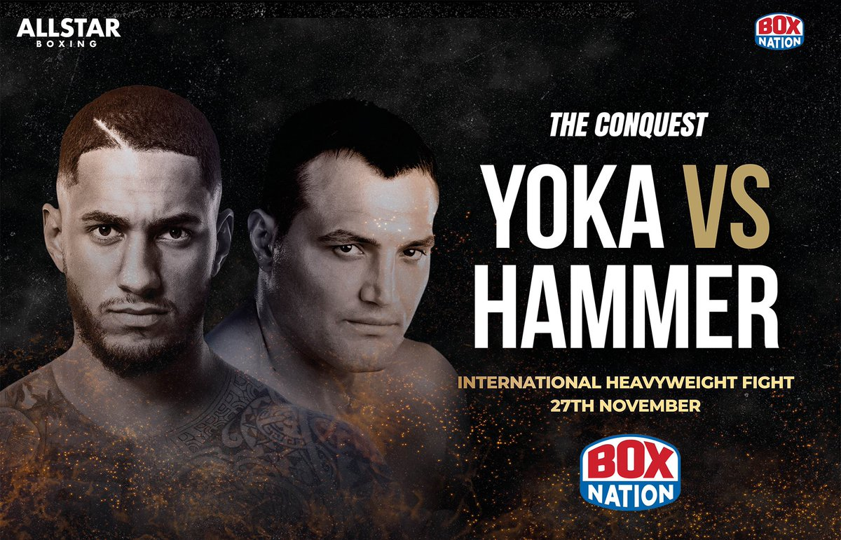 🥊 #LIVE Boxing next week from Nantes, France  🇫🇷 Tony Yoka 🆚 Christian Hammer 🇷🇴   🏅 2016 Gold medalist Tony Yoka looks to step up his professional career by overcoming seasoned pro Christian Hammer!  📆 Fri - Nov 27th ⏰ 7PM  #YokaHammer https://t.co/XTLjndXHaX