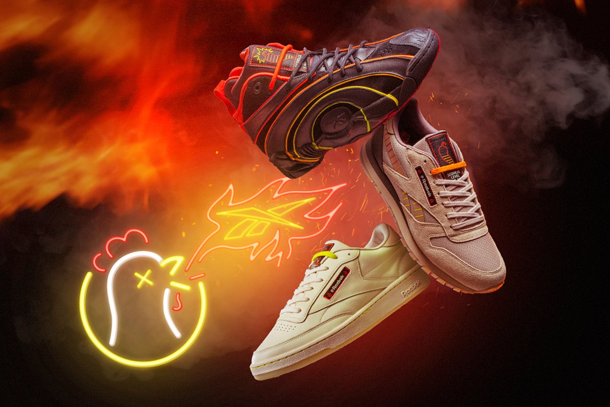 Will you take it mild, medium, or hot? @ReebokClassics x Hot Ones is here.  @firstwefeast  Shop the collection here: