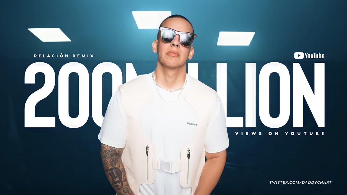 """Relación Remix"" (by Sech, Daddy Yankee, J Balvin, Rosalia & Farruko) has surpassed 200 MILLION views on YouTube."