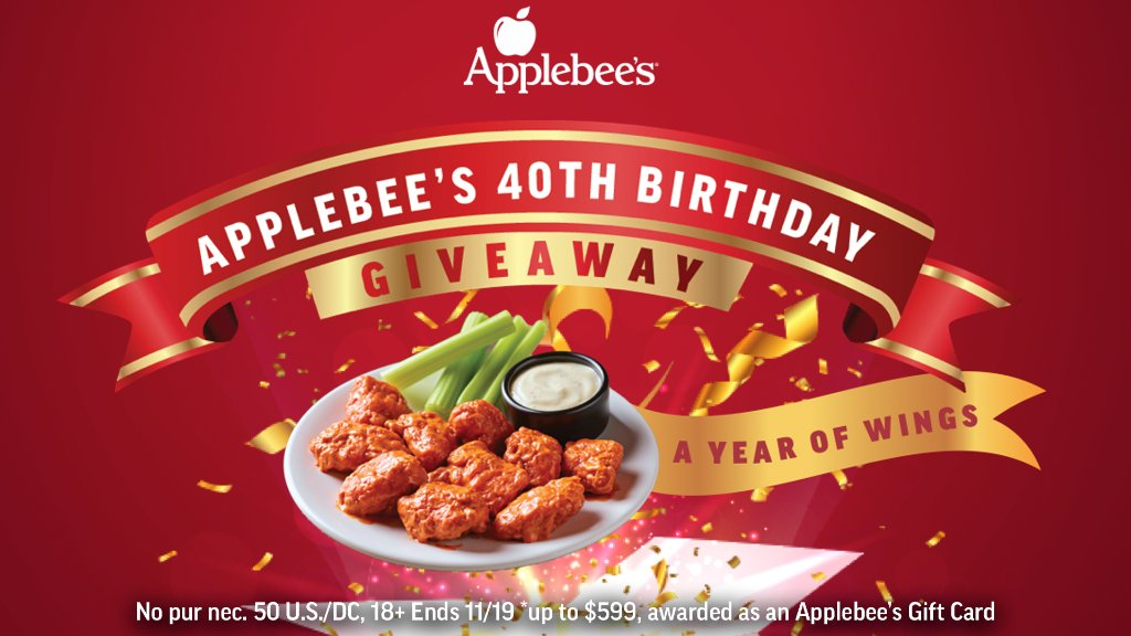 For our 40th, we're making your wish come true: FREE WINGS FOR A YEAR*! That's about an order a week for 52 weeks! To enter, quote this post and tell us why you should win. We'll reward our favorites all day! Winners take all!  #ABsYearOfWingsGiveaway