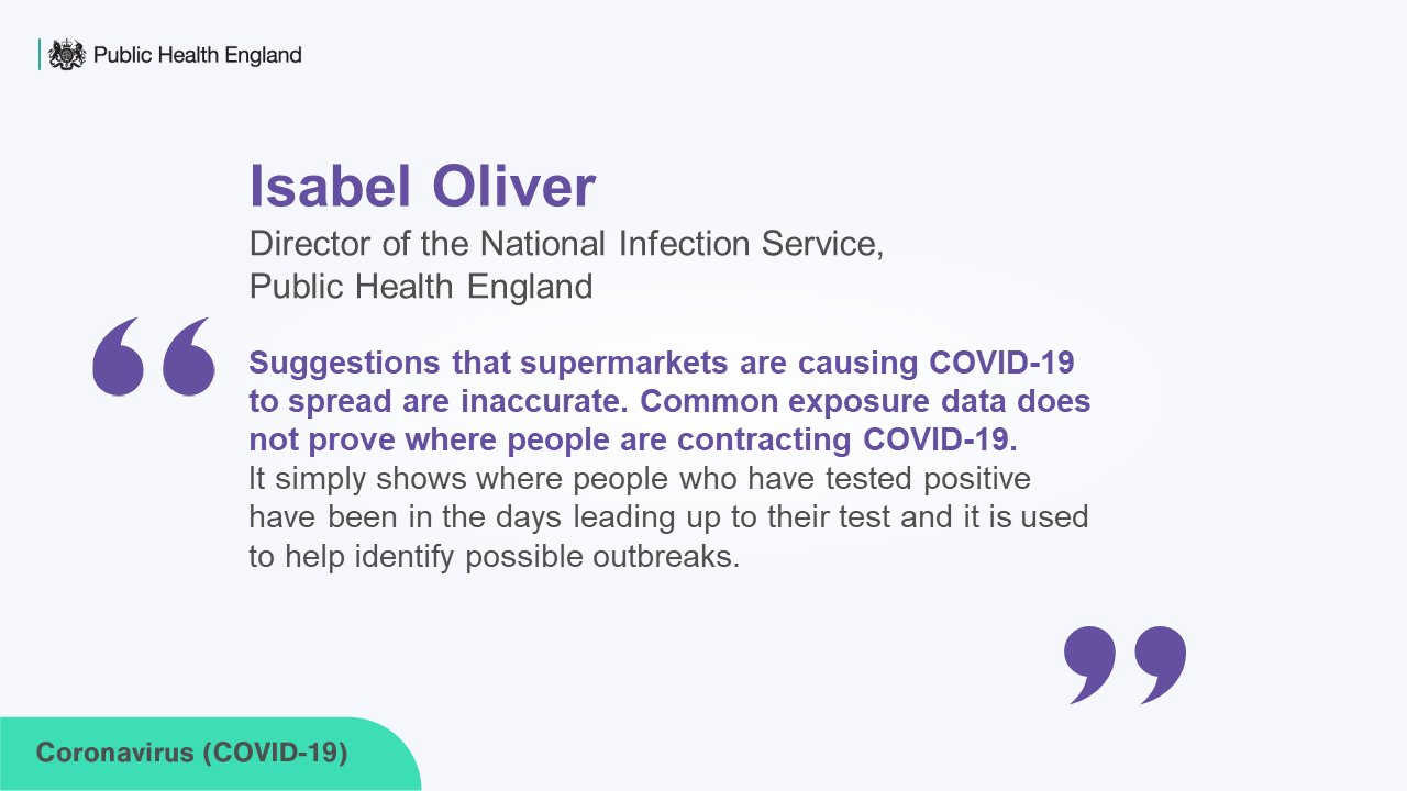Quote from Isabel Oliver, Director of the National Infection Service, Public Health England:
