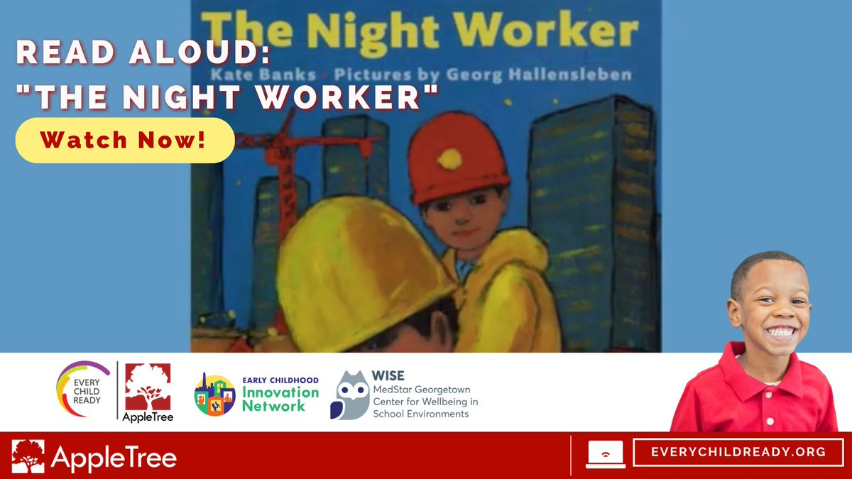 "Read along: Ms. Thompson reads ""The Night Worker"" written by Kate Banks and illustrated by Georg Hallensleben. She talks about feelings and you can learn three new words!   https://t.co/7BN4Bdj92c  #appletree #appletreedc #DC https://t.co/6HVXYkW44d"
