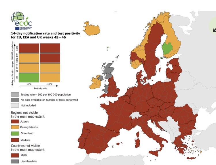 Ireland is now an amber country according to the ECDC's traffic light system https://t.co/A7xrrQPpvc