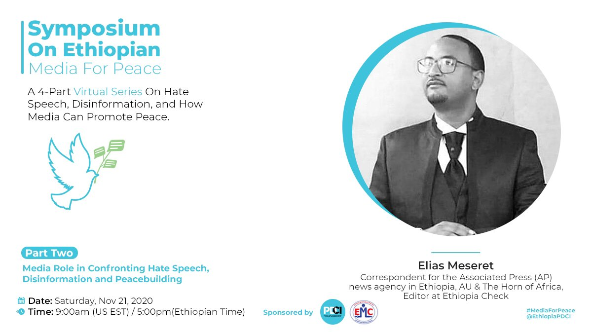 #Ethiopia Fake news & Disinformation play a direct role in negatively impacting a nation. Tools like #Ethiopia factcheck are doing their part in helping readers separate fact from fiction. Join us as we learn more from @EliasMeseret Nov 21! #mediaforpeace  https://t.co/unyIIaL60k https://t.co/p2g1CrH09s