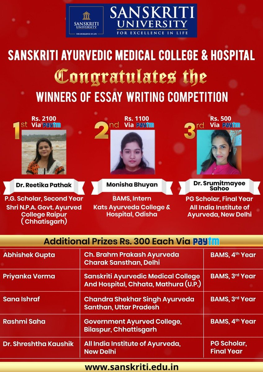 Sanskriti Ayurvedic Medical College and Hospital is proud to announce the winners of our unique Online Essay Writing Competition with you here.   #SanskritiUniversity #Mathura #EssayWriting #Competition #AyurvedaDay