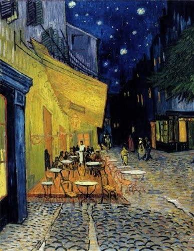 ゴッホの「夜のカフェテラス」モチーフの毛糸で、巾着ニットバッグを編んでくれた友人、天才すぎません…???