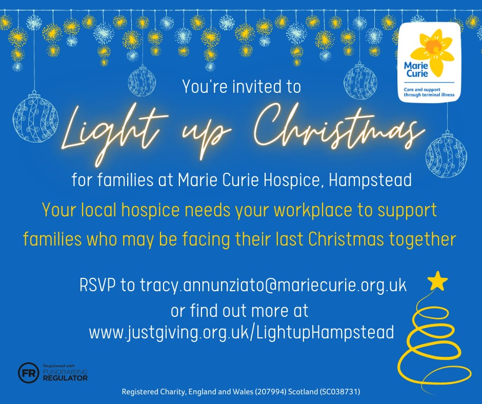 Can you help #mariecurie #hampstead hospice. Light Up Christmas by making a donation?  #www.justgiving.com/lightuphampstead     @MarieCurieSE