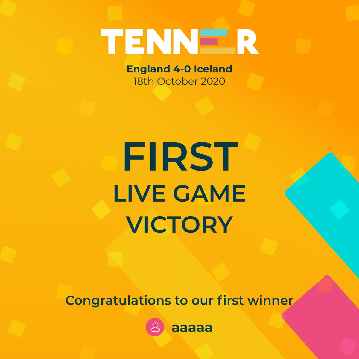 Last night on the England vs Iceland match we had our first live game victory! 🎉 💰  Be sure to check the Tenner app to see when the next live game will be up!  Download Tenner today to start playing today! https://t.co/1UH1xvTXci https://t.co/UwXkHY8dvW