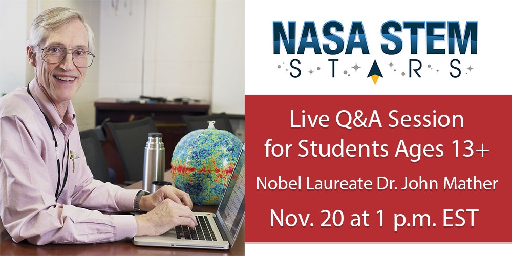 Introducing NASA STEM Stars with @NASAWebb Lead Project Scientist Dr. John Mather - PART 2!   Join Dr. Mather this Friday, Nov. 20 at 1 p.m. ET as he answers your questions!🍿⁉️  https://t.co/cjrajgds7l https://t.co/K78mt0fQuO