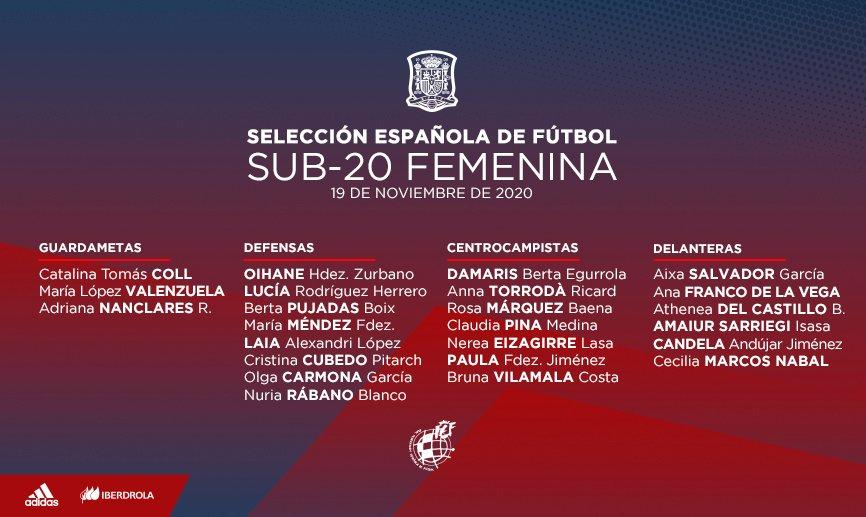 🔴 OFICIAL | Lista de la Sub-20 femenina para entrenamientos en Marbella.  ➡️ La concentración arrancará el lunes 23 de noviembre y finalizará el jueves 26.   🔗