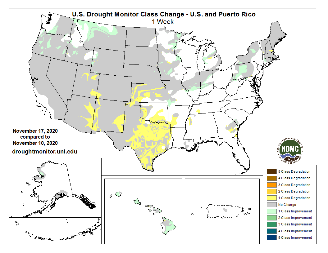 #DroughtMonitor 11/17: This week's change map shows scattered improvements in the Northwest, Northeast, PA, and parts of the Midwest.  The Southwest and TX continue to deteriorate. The rest of the Southern Plains is worsening now too.  See  @NOAA