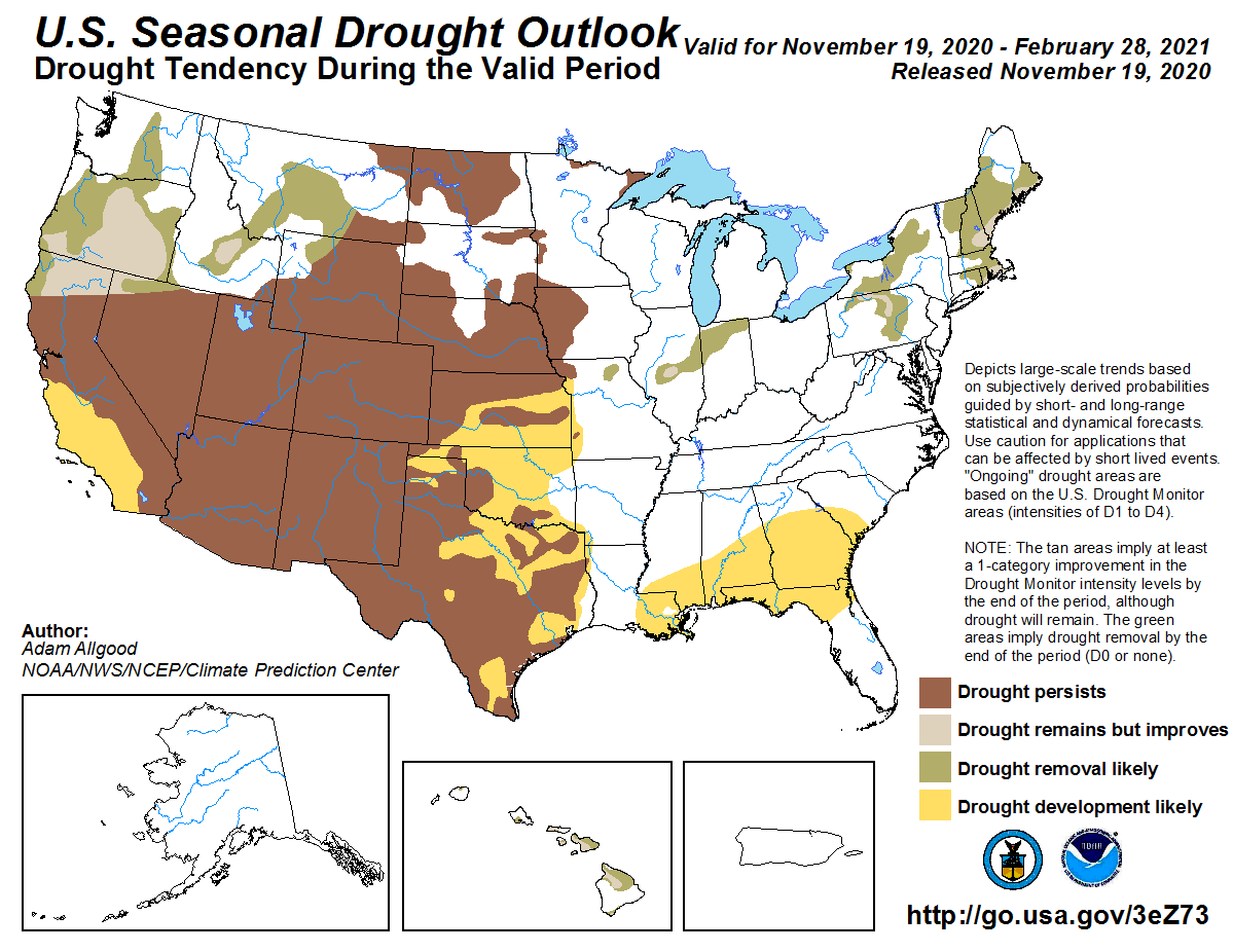 Seasonal Outlook by @NOAA's @NWSCPC   Trend continues with improvements in the Northwest/Northeast plus parts of the Midwest, and #drought expansion in the West and Plains.   Drought may also develop across a large swath of the Southeast (La Niña).   See