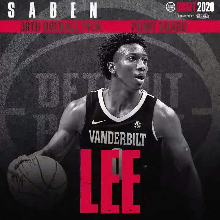 The draft night trade is now official, so now we can say ...  Welcome to Detroit, Saben Lee!  #NBADraft2020 | @HenryFordNews
