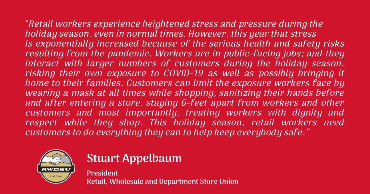 As #BlackFriday approaches amidst the still-raging #COVID19 pandemic, @RWDSU President @sappelbaum released the following statement: This holiday season, retail workers need customers to do everything they can to help keep everybody safe. Read more: rwdsu.info/black_friday_s…