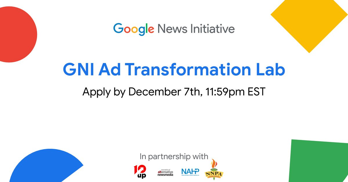 The GNI Ad Transformation Lab, in partnership with @NAHPInc, @AltWeeklies & @NNPA_BlackPress, aims to help Black & Latino publishers in North America grow their digital advertising businesses. North American publishers can apply to the Lab through Dec 7: