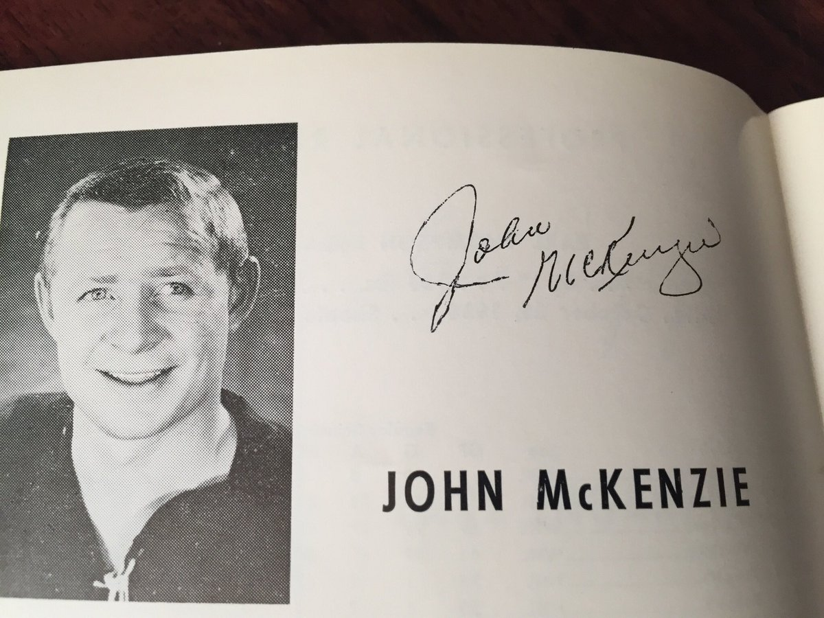 """Pie"" McKenzie was mostly known as a Bruin pain in the ass to the Rangers; but here he is in the Rangers Blue Book in 1965. 35GP 6G 5A 36PIM https://t.co/5C105MwxTa"