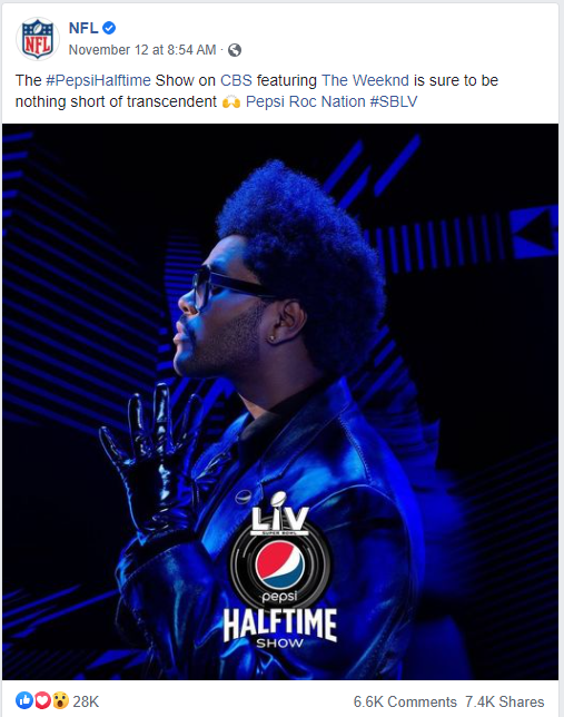 The brand that saw the biggest jump week over week was @Pepsi as @theweeknd was announced as the #PepsiHalftime performer for #SBLV.  Compared to the avg post from @NFL this season, the announcement got 8.5x more engagements on Facebook & 3.4x more on Twitter.  (2/8)