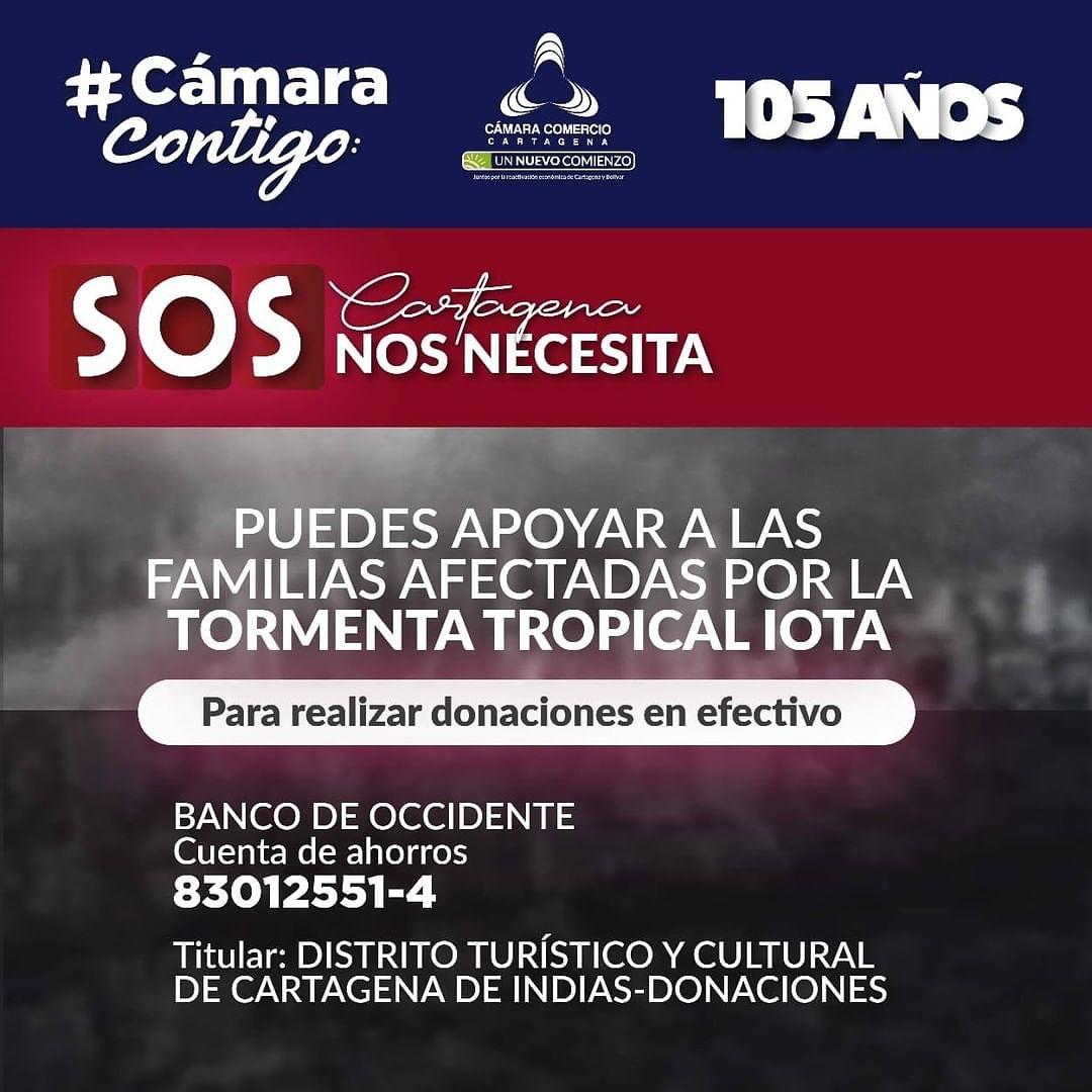 #SOSCartagena Puedes apoyar a las familias afectadas por la tormenta tropical IOTA, a través de donaciones de dinero a la cuenta del Distrito de Cartagena habilitada para ello.  #CámaraContigo #CartagenaNosNecesita
