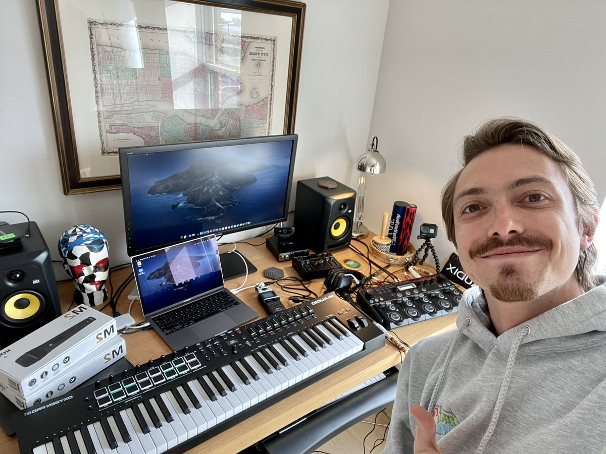 So lucky to have the support of all these incredible companies coming to the rescue to help rebuild my setup! Big shout out to @Roland_US, @SweetwaterSound, @M_Audio_, @rodemics, @KRK_Music_...couldn't do this without y'all!