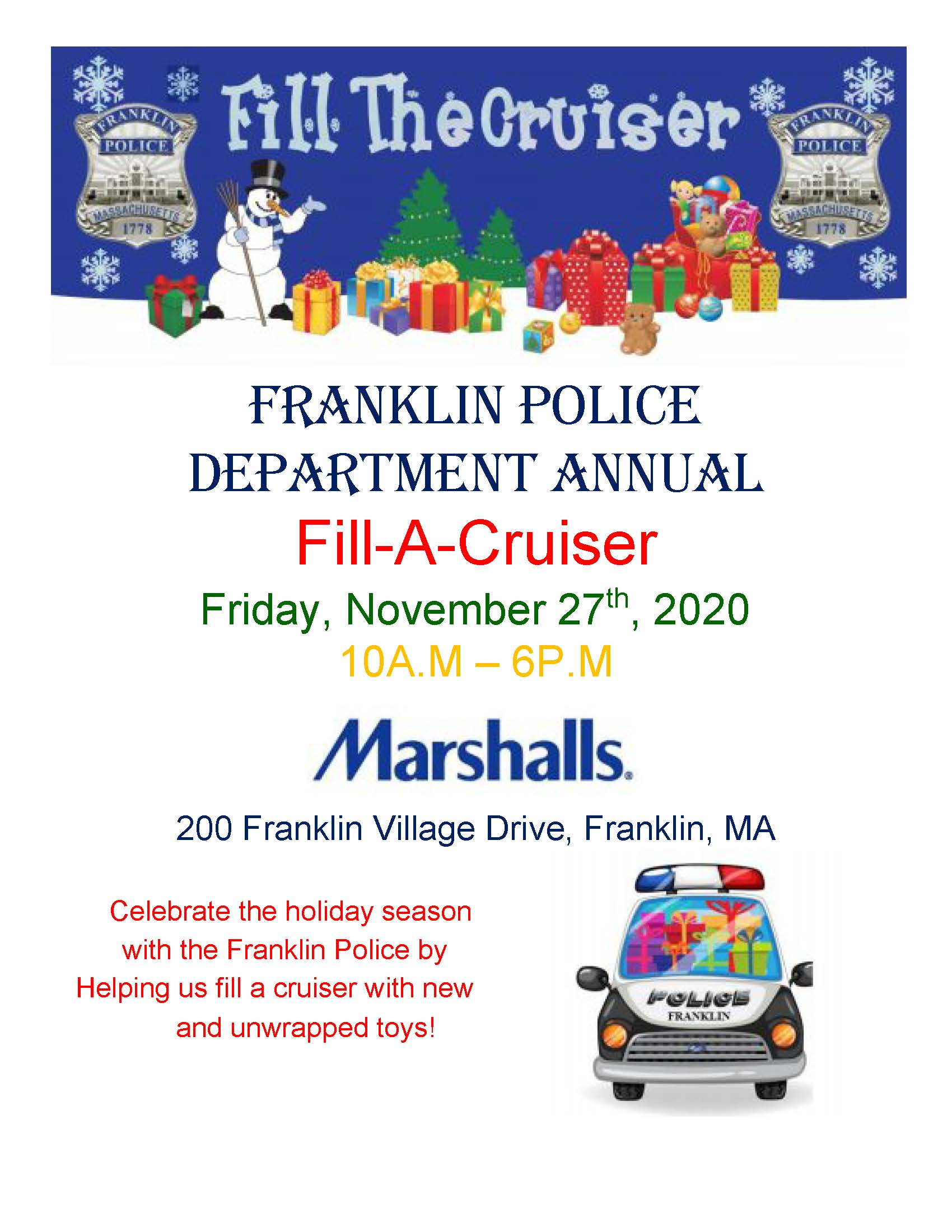 "Franklin Police: ""fill a cruiser"" toy drive"