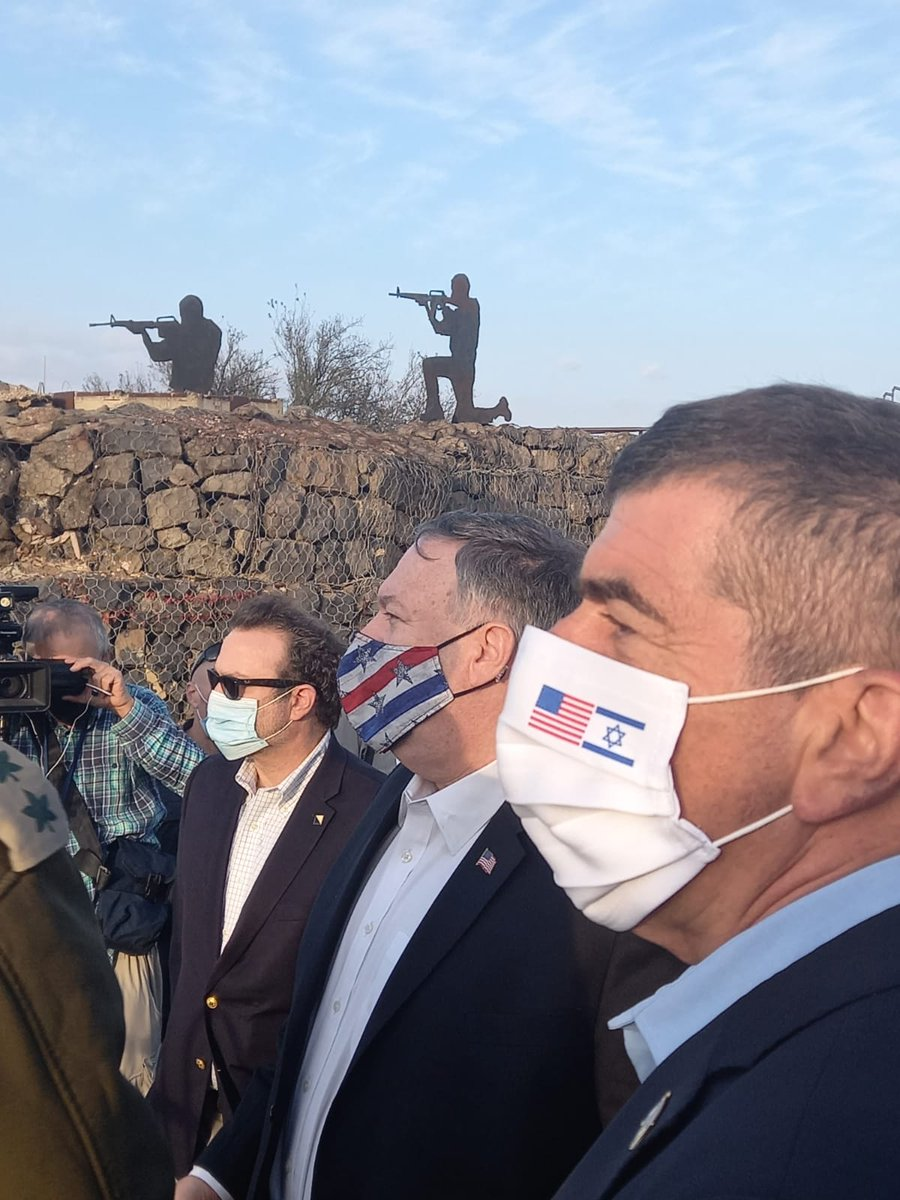Together with US Secretary of State Mike Pompeo, I visited the Golan Heights.  During the visit Sec of State Pompeo received a briefing on the security challenges on our Northern border with Syria and Lebanon and on Iran's malign influence on its Syrian allies and on #Hezbollah. https://t.co/0UTERNdQbL