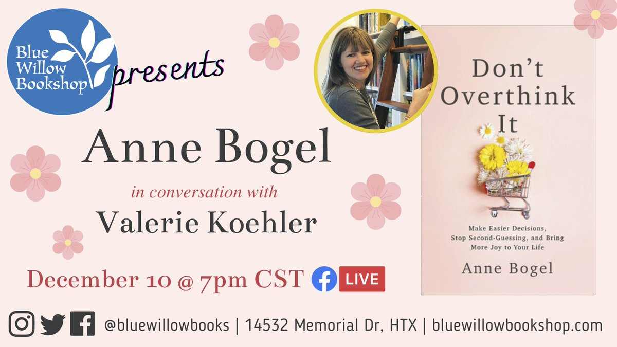 Mark your calendars for a very special event with staff fave @AnneBogel on Dec. 10! 💐  Anne and our own @BWBGirlboss will chat about book clubs, holiday gift suggestions, and Anne's newest book, #DontOverthinkIt.  We hope you can join us!