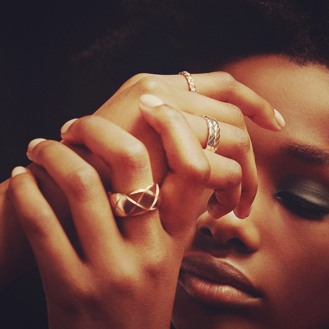 Loving @CHANEL ❤ A CHANEL Dream Never Fades  Model Imari Karanja models three rings in beige gold and one ring in white gold from the COCO CRUSH collection. Link in bio. Discover the CHANEL COCO CRUSH rings at CHANEL and . ❤💕💙💜  #CHANELDreaming