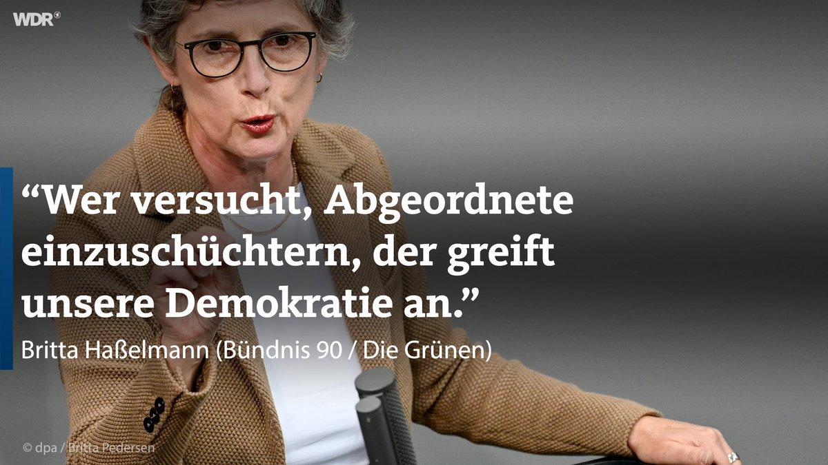 """Grünen-Politikerin Haßelmann sagt: """"Wer versucht, Abgeordnete einzuschüchtern, der greift unsere Demokratie an."""""""