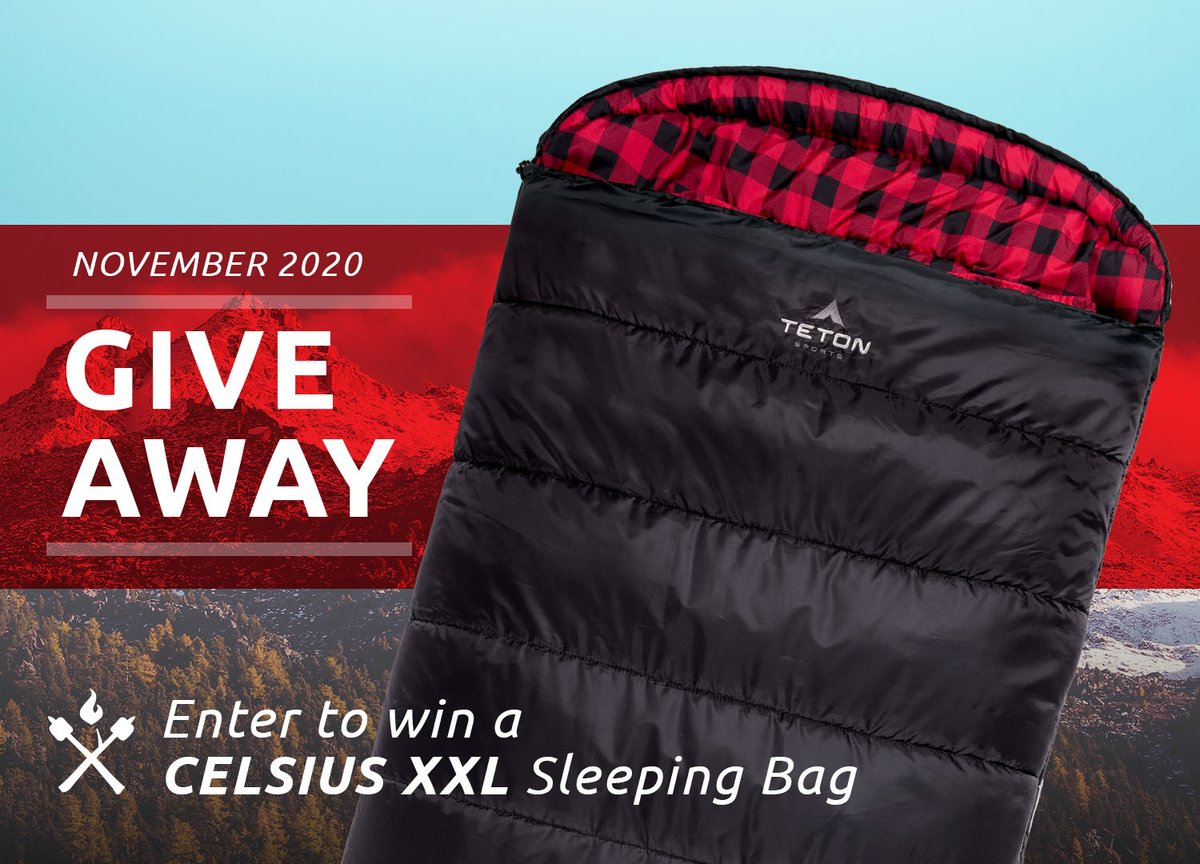 GIVEAWAY TIME! We're giving away a Celsius XXL Sleeping Bag. To Enter:  1) Like it 2) Retweet it 3) Follow TETON Sports  #tetonsports #getoutdoors #enjoylife #nature #outdoors #adventure #discover #explore #hiking #camping #mountains #wilderness #backpacking #hikerchat #giveaway